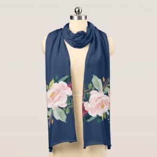Gemalter Blumenpfingstrosen-Marine-Blau-Schal American Apparel Transparenter Schal