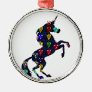 Gemaltes EINHORN-PferdeMärchen navinJOSHI NVN100 Silbernes Ornament