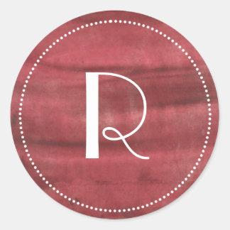 Gemaltes Monogram|Red Runder Aufkleber