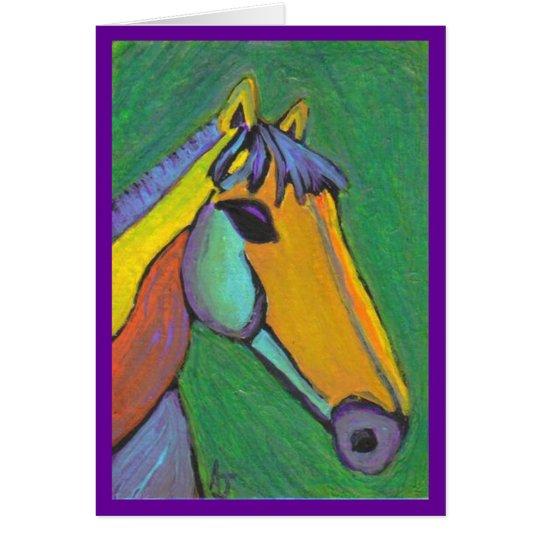Gemaltes Pony - notecard Mitteilungskarte