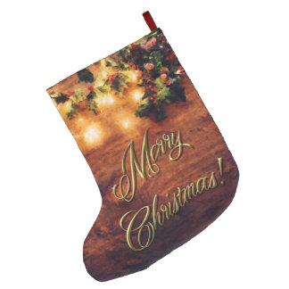 Gemaltes rustikales Weihnachten - Holz mit Großer Weihnachtsstrumpf
