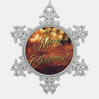 Gemaltes rustikales Weihnachten - Holz mit Schneeflocken Zinn-Ornament