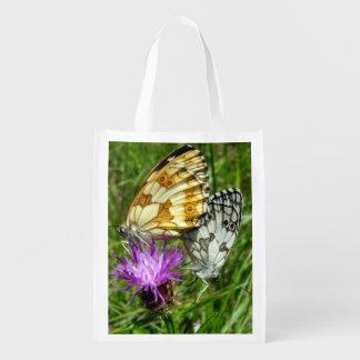 Gemarmorte weiße Schmetterlings-wiederverwendbare Wiederverwendbare Einkaufstasche
