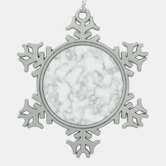 Gemarmorter graues schneeflocken Zinn-Ornament