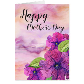 Gemarmortes Rosa mit klarem lila Blumen-Mutter-Tag Karte