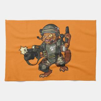 Gemeiner Marinekatzen-Zündungs-Gewehr-Cartoon des Küchenhandtuch