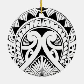 gemischtes polynesisches Maori- Stammes- Rundes Keramik Ornament