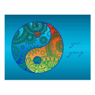 Gemusterte Yin Yang Orange und Blau Postkarte