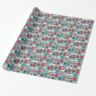 Gemütliche Winter-Weihnachtshandschuhe blau Geschenkpapier