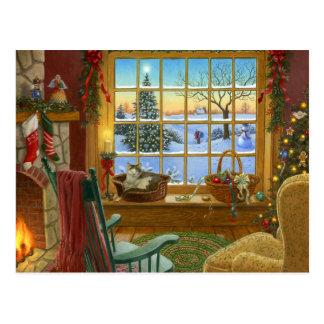 Gemütliches Katze Weihnachten Postkarte