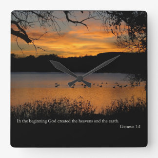 GEN-1:1 am Anfang Gott hergestellt Quadratische Wanduhr