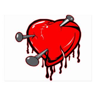 Genagelte Herz-Tätowierung Postkarte