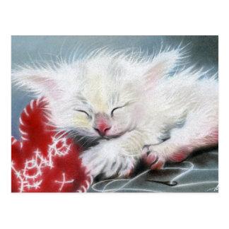 Genäht mit Kätzchen-Herz Postkarte der Liebe