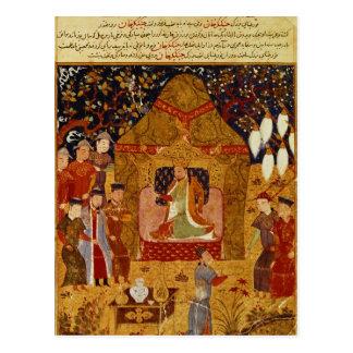 Genghis Khan in seinem Zelt durch Rashid AlLärm Postkarte