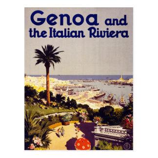Genua und das italienische Vintage Plakat Restor Postkarte