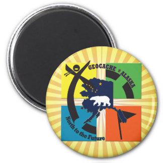 GEOCACHE ALASKA U. STAATS-MOTTO RUNDER MAGNET 5,1 CM