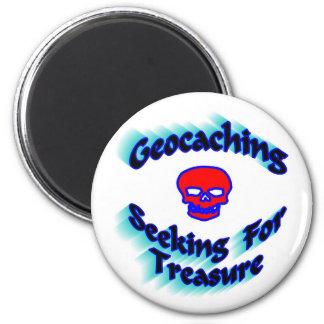Geocaching, das für Schatz sucht Runder Magnet 5,7 Cm