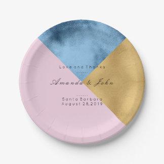 Geometrie-personalisierte Marine-lila rosa Pappteller