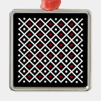 Geometrie-roter Kreis u. weißes Silbernes Ornament