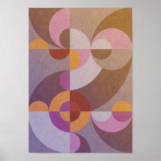 Geometrische abstrakte retro Kreise in den warmen Poster
