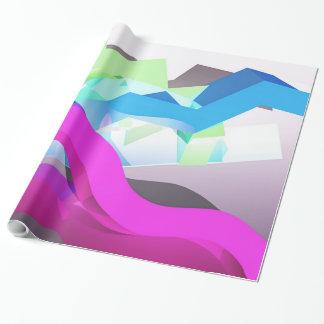 geometrische Achtzigerjahre 3D Art-Formen Geschenkpapier
