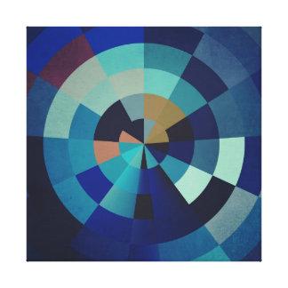 Geometrische Blau-Kreise, Bogen und Dreiecke der Leinwanddruck