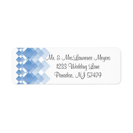 Geometrische blaue Diamanten Wedding   Rücksendeetiketten