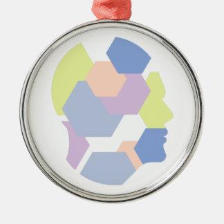 Geometrische Formen innerhalb des menschlicher Silbernes Ornament
