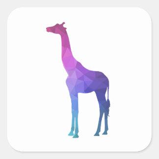 Geometrische Giraffe mit vibrierender Quadratischer Aufkleber