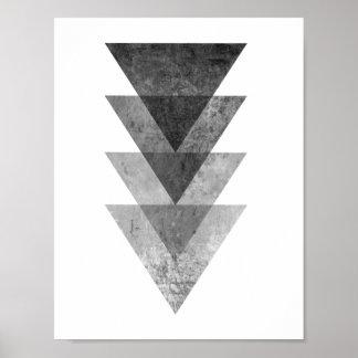 Geometrische graue Dreiecke Poster