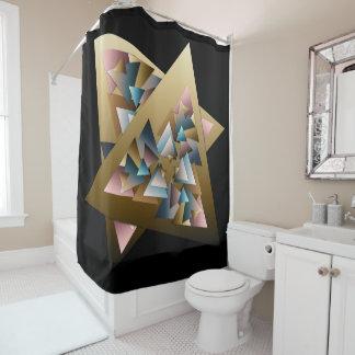 Geometrische metallische Dreiecke Duschvorhang