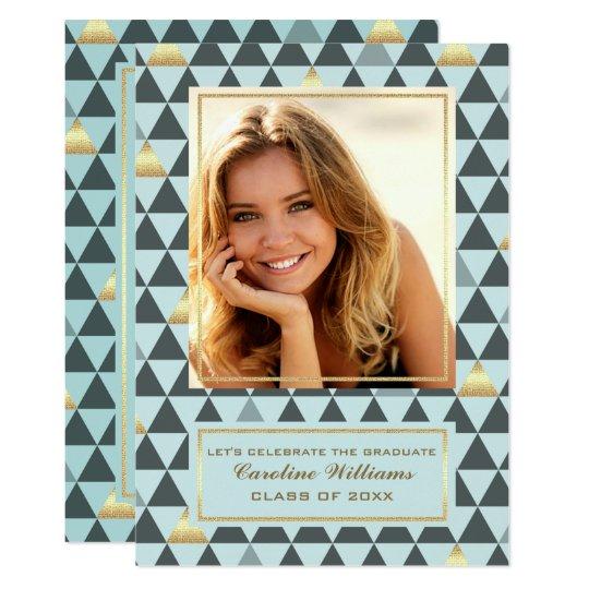 Geometrische Muster-Abschluss-Foto-Einladungen 12,7 X 17,8 Cm Einladungskarte
