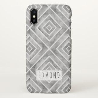 Geometrische Quadrate des grauen Watercolor iPhone X Hülle