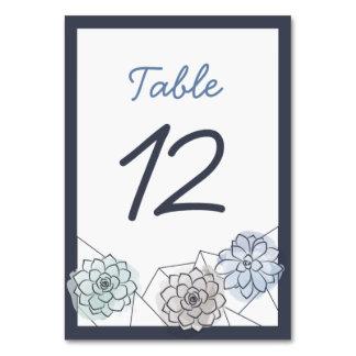 Geometrische saftige Hochzeits-Tabellen-Karte - 12 Karte
