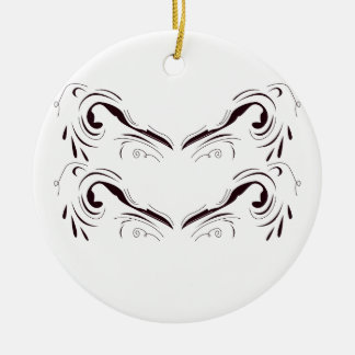 Geometrische Schwarz-weiße Mandalakunst Rundes Keramik Ornament