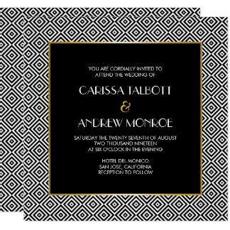 Geometrische Wedding Schwarzweiss-Quadrate Quadratische 13,3 Cm Einladungskarte