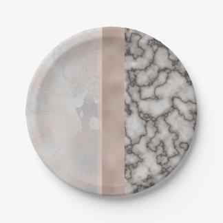 Geometrische weiße graue pappteller