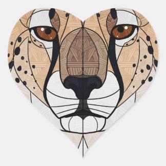 Geometrischer Gepard Herz-Aufkleber