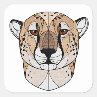 Geometrischer Gepard Quadratischer Aufkleber