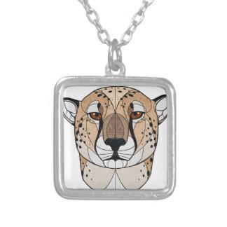 Geometrischer Gepard Versilberte Kette