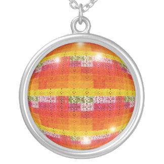 Geometrischer Halsketten-Disco-Ball Versilberte Kette
