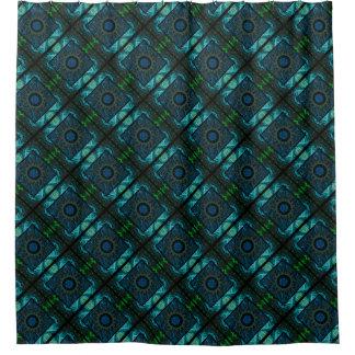 Geometrischer u. Fraktal-blauer u. grüner Entwurf Duschvorhang