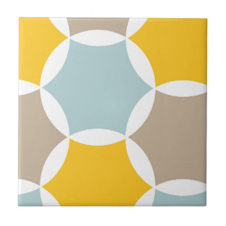 Geometrisches Hexagon-Kreis-Gelb-Blau-Muster Fliese