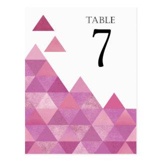 Geometrisches lila Lila der Dreieck-Tischnummern | Postkarte