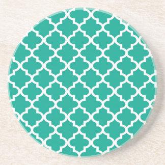 Geometrisches modernes des aquamarinen blauen sandstein untersetzer