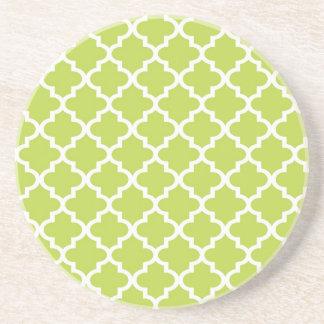 Geometrisches modernes des Limonen grünen Sandstein Untersetzer