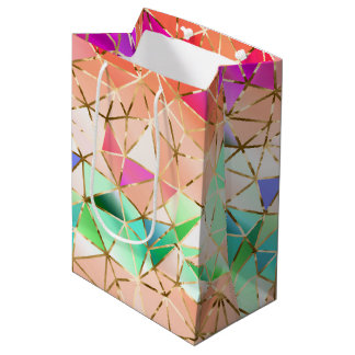 Geometrisches Muster des Regenbogens Medium Geschenktüte