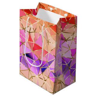 Geometrisches Muster des Regenbogens Mittlere Geschenktüte