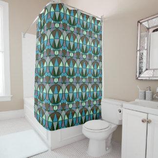 Geometrisches Retro Blau Duschvorhang