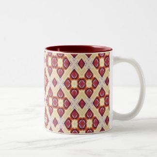 Geometrisches Retro Muster Creme-und Zimt-Browns Zweifarbige Tasse